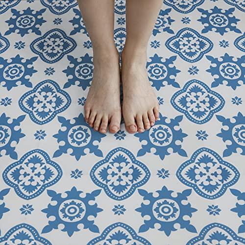 20x20cm Selbstklebende Bodenfliese Vinyl Bodenbelag Fliesen Effekt Blatt Wasserdichter PVC Boden für Küche Badezimmer Blau10 Stück. (Blau)