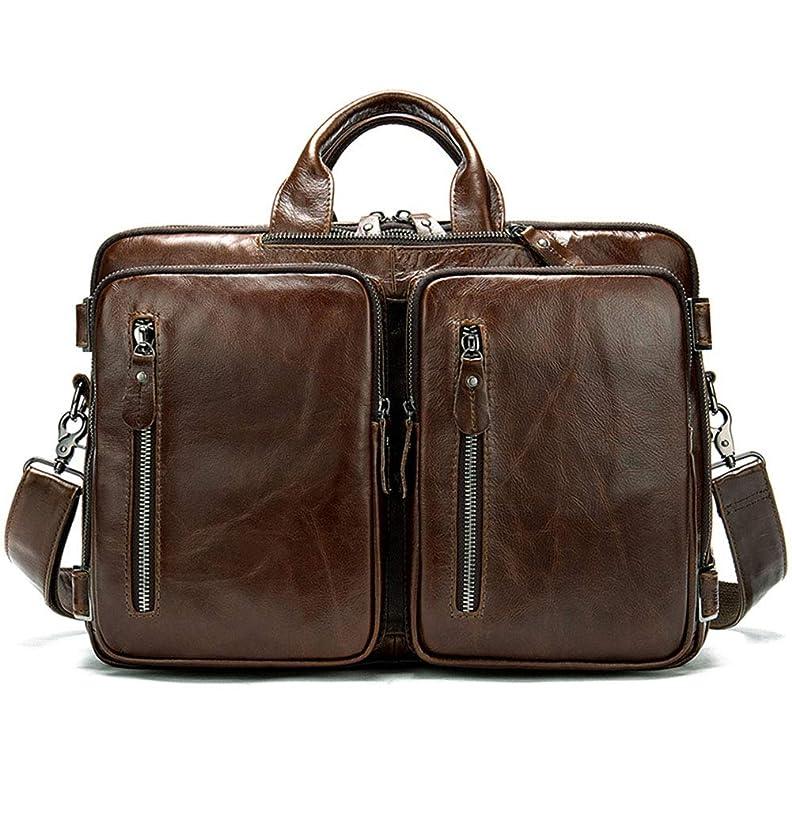 シュリンクネクタイ優れた14インチレザービジネスメンズバッグ、大容量ラップトップバッグ、クロスセクションショルダースリングブリーフケースバックパック、コーヒー