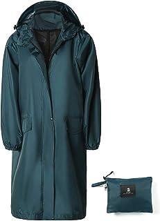 Women's Long Rain Jacket Waterproof Lightweight Hooded Raincoat
