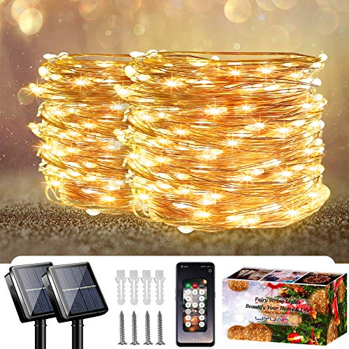 LiyuanQ Solar Fairy String Lights Outdoor with App Controlled 2 Set 100LED Waterproof Garden String Lights Solar powered Copper Wire String Lights for Fence Patio Yard Party Wedding Indoor(Warm White)
