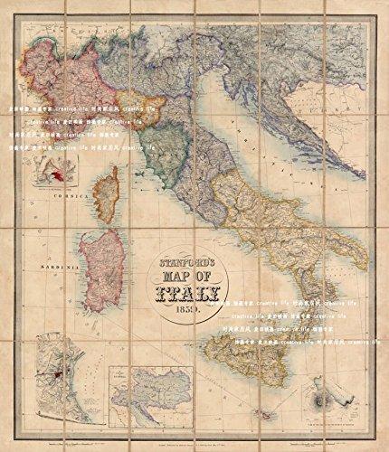 Tomorrow sunny 1859 Italy ancient maps Silk Poster Bedroom Wall Decor 24*36inch