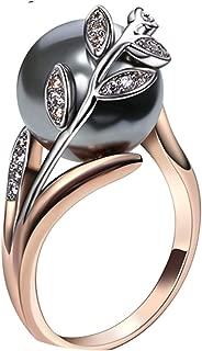 Ring Gray Pearl Cubic Zircon Women Jewelry Statement Leaf Finger Rings Grey 6