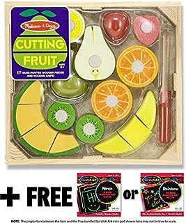 Cutting Fruit Set (18pcs): Wooden Play Food Set & 1 Melissa & Doug Scratch Art Mini-Pad Bundle (40211)