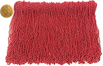 Mardi Gras Beads 33 inch 7mm 12 Dozen 144 Pieces Red Necklaces with Doubloon