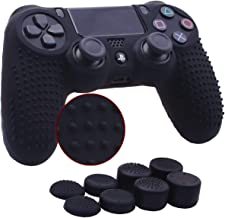 YoRHa Studded Silicone Cover Skin Case for Sony PS4/slim/Pro Dualshock 4 controller x 1(black) With Pro thumb grips x 8