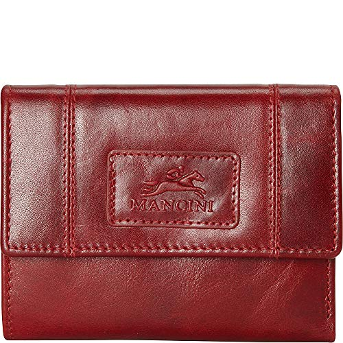 Mancini Leather Goods RFID Secure Small Clutch Wallet (Red)