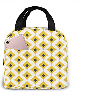 Mustard Yellow Lunch Bag Insulated Lunch Box Soft Cooler Cooling Tote for Adult Men Women 8.3 x 7.9 Inch/21 x 20 cm