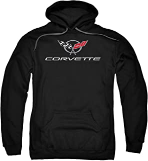 Chevrolet Automobiles Chevy Modern Corvette Emblem Adult Pull-Over Hoodie
