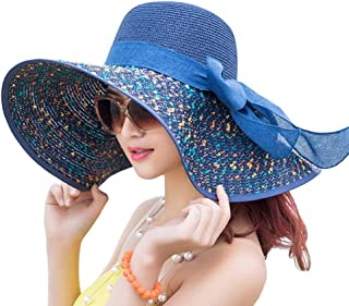 Lady Dress Women's Foldable Floppy Sun Hat Wide Brim Big Bowknot Beach Straw Hat UPF 50+ SH009 Navy