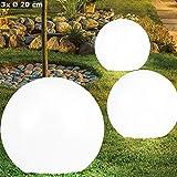 3er Set LED Solar Kugel Lampen Garten Weg Steck Leuchten Terrassen Erdspieß Beleuchtung weiß