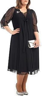 PARAISO CURVY Vestido Negro para Ceremonias Fabricado en España en Tul-Lycra, en Tallas Extra Grandes, cómodo y Elegante.