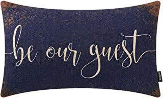 TRENDIN Farmhouse Pillow Cover 12x20 Inch Rusted Blue Be Our Guest Quote for Guest Room Decor Lumbar Pillowcase with Saying Housewarming Gift Cotton Linen PL503TR
