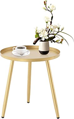 MorNon Round Side Table, Metal End Table, Coffee Tea Sofa Side Table for Living Room Accent Tables, Small Round Nightstands M