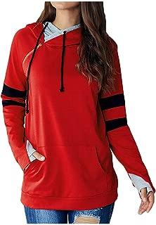 Remanlly Women Fashion Patchwork Cap Zipper Long Sleeve Hoodie Sweatshirt Pullover Tops Blouse