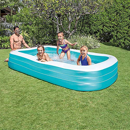 Families rechteckiger Pool Familienpool Schwimmbad Familiypool Planschbecken Schwimmbad Schwimmbecken Kinderpool aufblasbar rechteckig groß lang für Garten Outdoor Erwachsene Kinder 305x183x56 cm blau