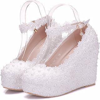 White Lace Wedding Shoes Wedges Heels Platform Wedges Shoes Round Toe  Wedges Pumps Bridal Shoes e376ce35670e