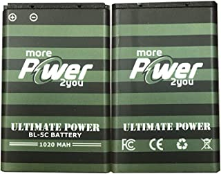 MorePower2You BL-5C Battery 1020mAh Replacement BL-5C Battery BL-5C Spare Battery Kit