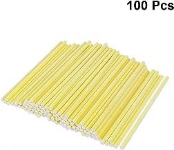 BESTONZON 100pcs Cake Pop Sticks Paper Lollipop Sticks Birthday Party DIY Craft Sticks Yellow