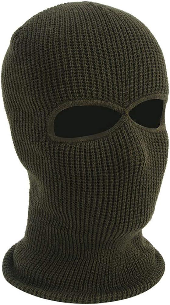 Unisex Warm Full Face Shield Beanie Cap 2 Hole Ski Mask Knit Balaclava for Winter Outdoor Sport
