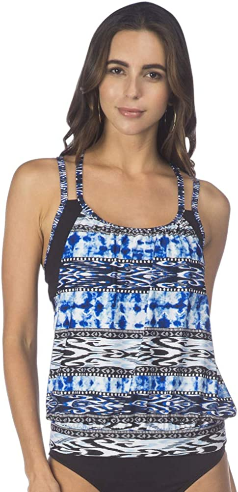 Kenneth Cole REACTION Women's Indigo Go Girl Aztec Layered Tankini with Criss Cross Back Straps