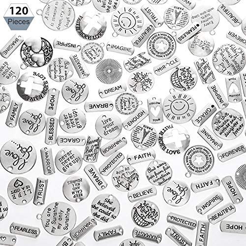 Uspeedy- 120 Pieces Word Charms Pendants Engraved Motivational Inspiration Words Charms Pendants for DIY Necklaces Jewelry Making Fashion Accessories, Silver
