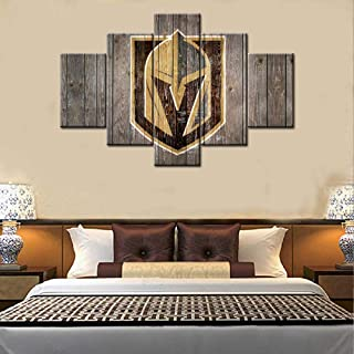 American Sports Canvas Wall Art Vegas Golden Knights Sign Painting National Hockey League Poster and Prints Artwork Vintage Picture Home Decor Boys Room Framed Giclee Ready to Hang(60Wx40H inches)