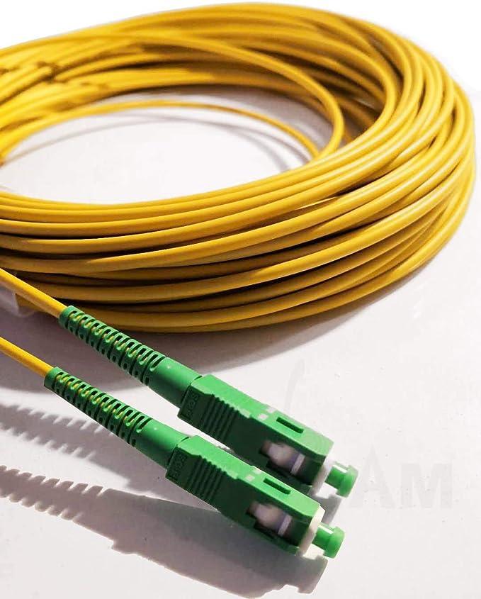 Elfcam Fibra óptica Cable SC/APC a SC/APC monomodo simplex 9/125, Compatible con Orange, Movistar, Vodafone y Jazztel, 0,5M