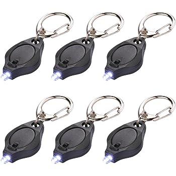 6 Pack Mini LED Flashlight Keychain Ultra Bright Key Ring Light Torch with Hook (Black)