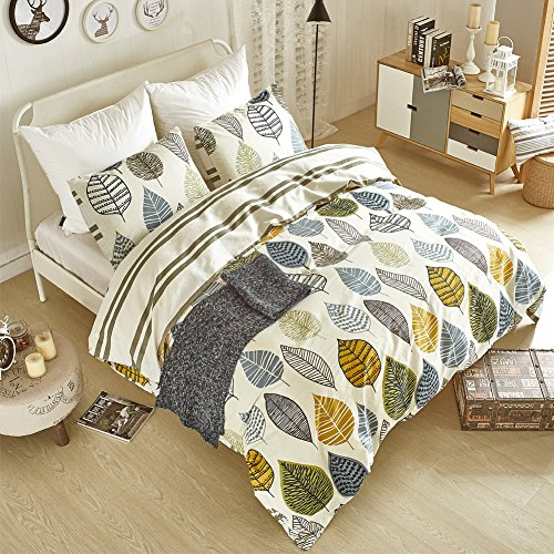 Aimay Duvet Cover Set 100% Natural Cotton 3 Piece Bedding Sets with Zipper Closure Ultra Soft Comfy Breathable Fade Resistant Hypoallergenic Colorful Leaves Pattern Design King Size(104' x 90')