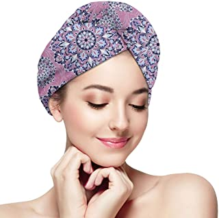 Quick Dry Hair Wrap Towels Turban,Middle Eastern Oriental With Ornamental Featured Lines,Absorbent Shower Cap