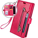 iPhone 6S Plus Wallet Case for Women/Men,Auker Trifold 9 Card Holder Folio Flip Leather Magnetic Wallet Case with Strap,Money Pocket&Kickstand Full Protective Zipper Purse for iPhone 6 Plus (Rose)