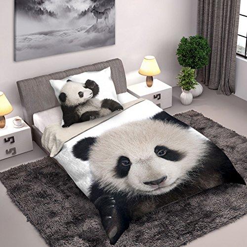 Wild Collection Panda Einzelne Duvet Set 140 x 200cm / 70 x 90cm (Panda 140 x 200)
