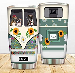 Brindle Boxer Vacuum Tumbler Cup Sunflower You Are My Sunshine Coffee Cup, Dog Driver Double Wall Steel Travel Mug Insulat...