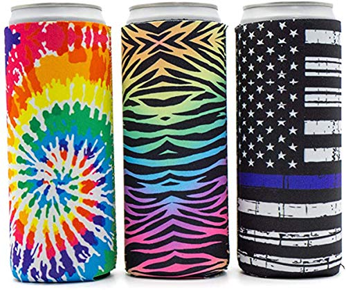 QWQHI Can Cooler for 12oz tall canned products,Suitable for portable use in various occasions - 3 pack (Multicolor B)
