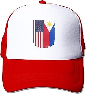 American Philippines Flag Adult Mesh Cap Adjustable Snapback Hats Red