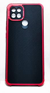 Matte Case Soft Oppo A15S - A15 Fiber Carbon Soft Simple Silicone Era Protection Cover Anti-shock - Red