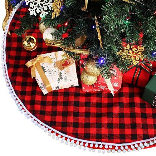 keyixing Gonna per Albero di Natale Scozzese 122cm Gonne per Albero di Natale Rosse e Nere con Copertura per Base in Pom Pom Decorazione per Tappeto per Albero di Natale Gonna per Albero di Natale