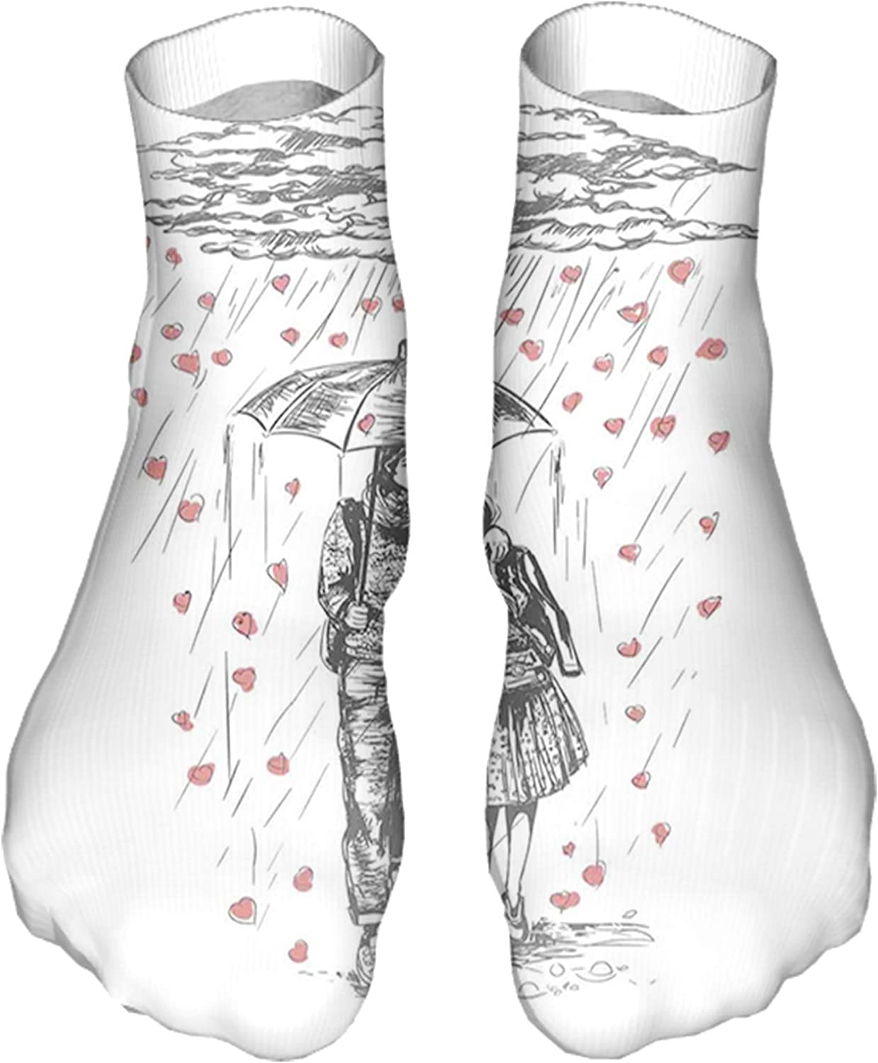 Women's Colorful Patterned Unisex Low Cut/No Show Socks,Couple Walking Under Heart Shape Rain Drops with and Umbrel
