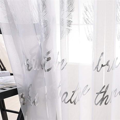 Gxi Cortinas De Gasa Para Salón 2 Paneles Diseño De Hojas Color Blanco Home Kitchen