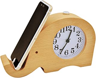 EC VISION Wooden Alarm Clocks, Silent Desk Clock Elephant Digital Alarm Clock with Cell phone Stand and Night Light for Kids, Bedrooms, Home, Dormitory, Travel