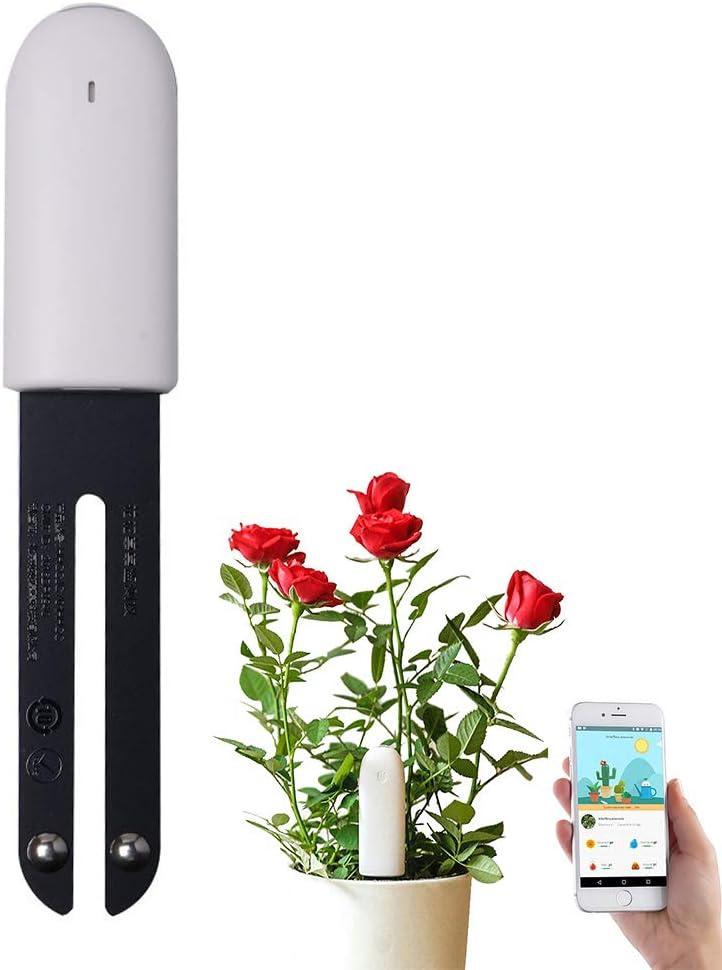 CHYBFU Flower Care Medidor de Suelos, Monitor Plantas Inteligente Bluetooth 4 en 1 Probador de Suelo Monitorea Automáticamente los Niveles de Humedad/Fertilidad/Luz/Temperatura-Versión Internacional