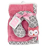 Cribmates Blanket with Neck Support, Pink/Grey Owl