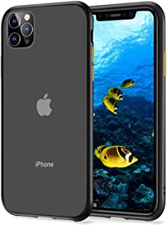 Compatible with iPhone 11 pro Case, [Military Grade Drop Tested] Translucent Hard Matte Case with Soft TPU Bumper Slim Phone Case for iPhone 11 pro, 5.8 inch - Black
