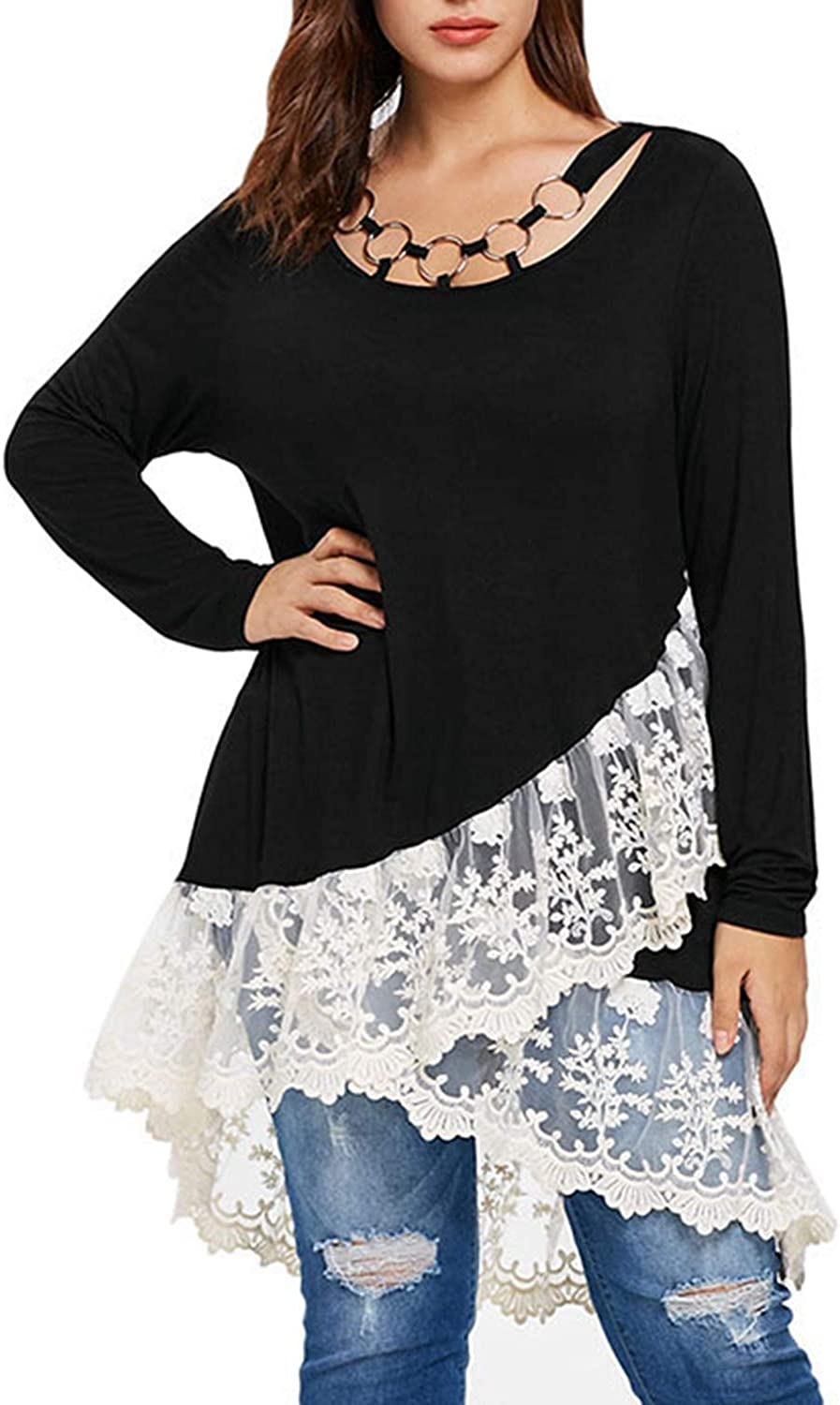 Desirca Plus Size 5XLL White Floral Lace Black Long Tops Women Long Sleeve Autumn Spring Tunic Blouses Ladies Big Size