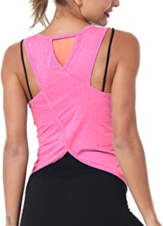 Women Cute Sexy Yoga Shirts Cross Back Irregular Hem Sleeveless Workout Sports Racerback Tank Tops