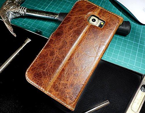Urcover Akira Deluxe Edition kompatibel mit Samsung Galaxy S6 Edge ECHT Leder Handyhülle [Hand Made] feines Rindsleder Schutzhülle Wallet Handytasche mit Kartenfach Dunkel Braun