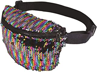 Womens 80s Dance Party Sequin Belly Bag Fanny Pack Ladies Festival Single Zip Bum Bag Travel Pouch Accessory One Size