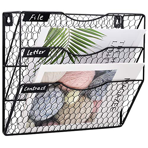 COSYAWN 3 Tier Wall File Holder Hanging Mail Organizer Metal Chicken Wire Wall Mount Magazine Rack, Black