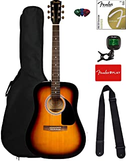 Best Fender FA-115 Dreadnought Acoustic Guitar - Sunburst Bundle with Gig Bag, Tuner, Strings, Strap, and Picks Review