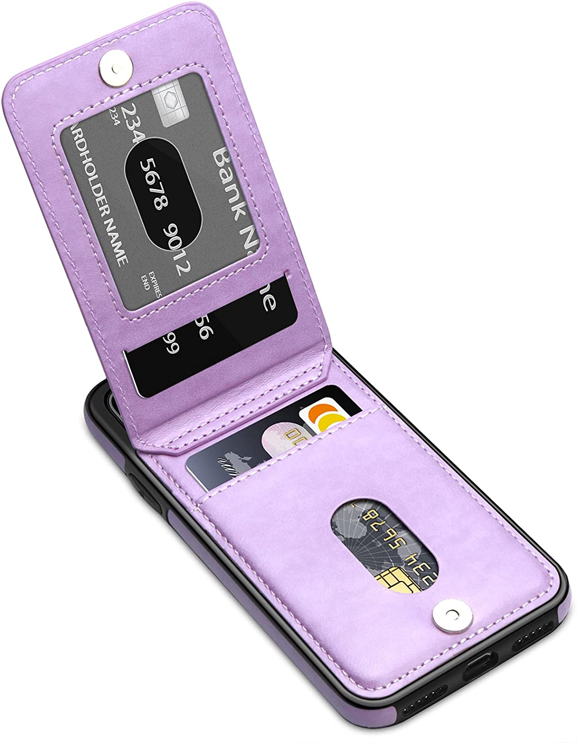 LakiBeibi for iPhone XR Case for Women Girls, Dual Layer Premium Leather iPhone XR Wallet Case with Card Holders Flip Shockproof Protective Case for iPhone XR Phone Case 6.1 Inches (2018), Purple
